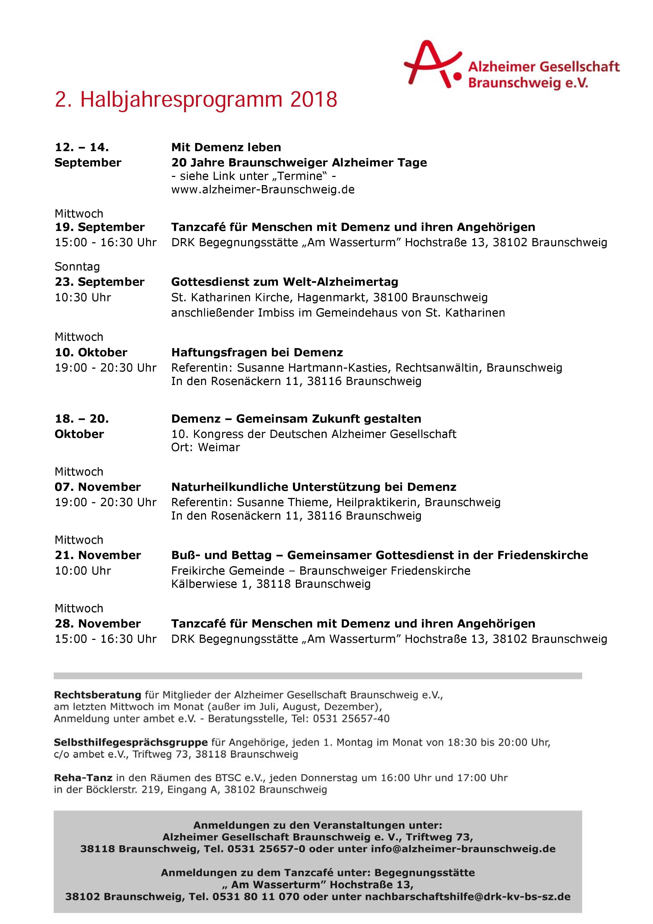 Halbjahresprogramm 2. Halbjahr 2018 der Alzheimer Gesellschaft Braunschweig e.V.